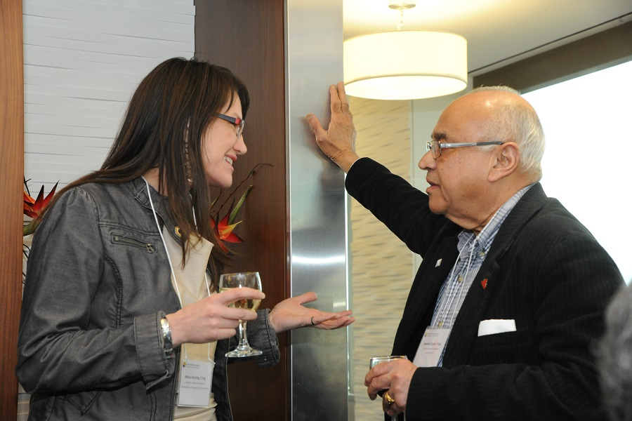 2016-05-02 Fdn Pres M Sterling chatting with Santosh Gupta of Council of Ontario Deans of Eng