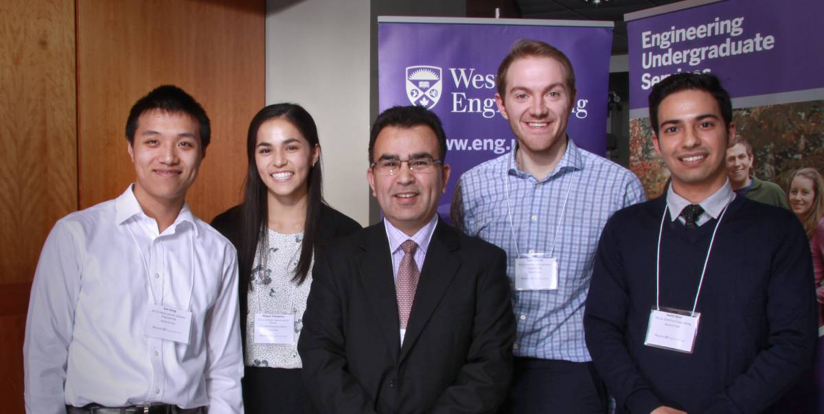 Western University scholarship winners with PEO London chapter member, Imtiaz Shah, P.Eng.